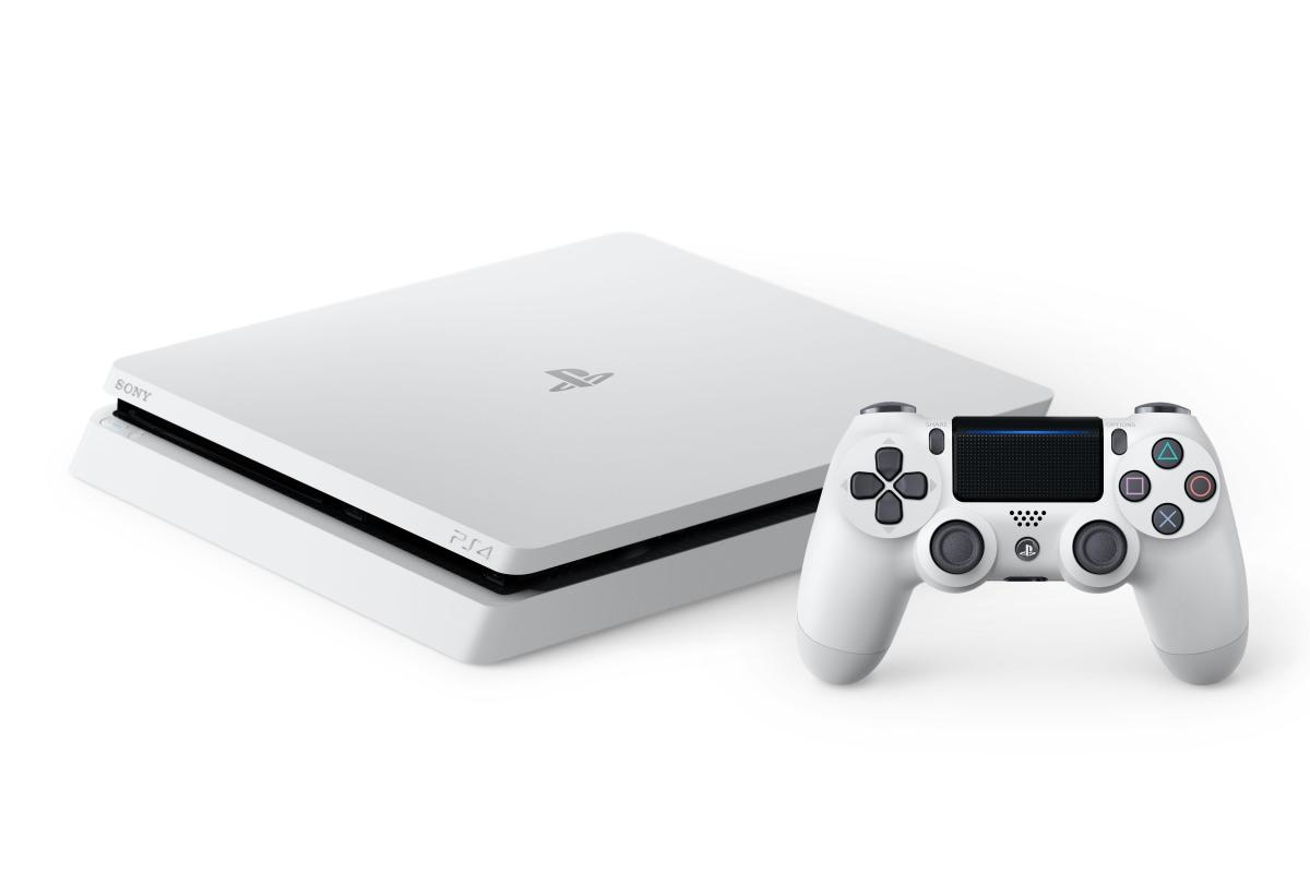 glacier white playstation 4 39 slim 39 now available in canada. Black Bedroom Furniture Sets. Home Design Ideas