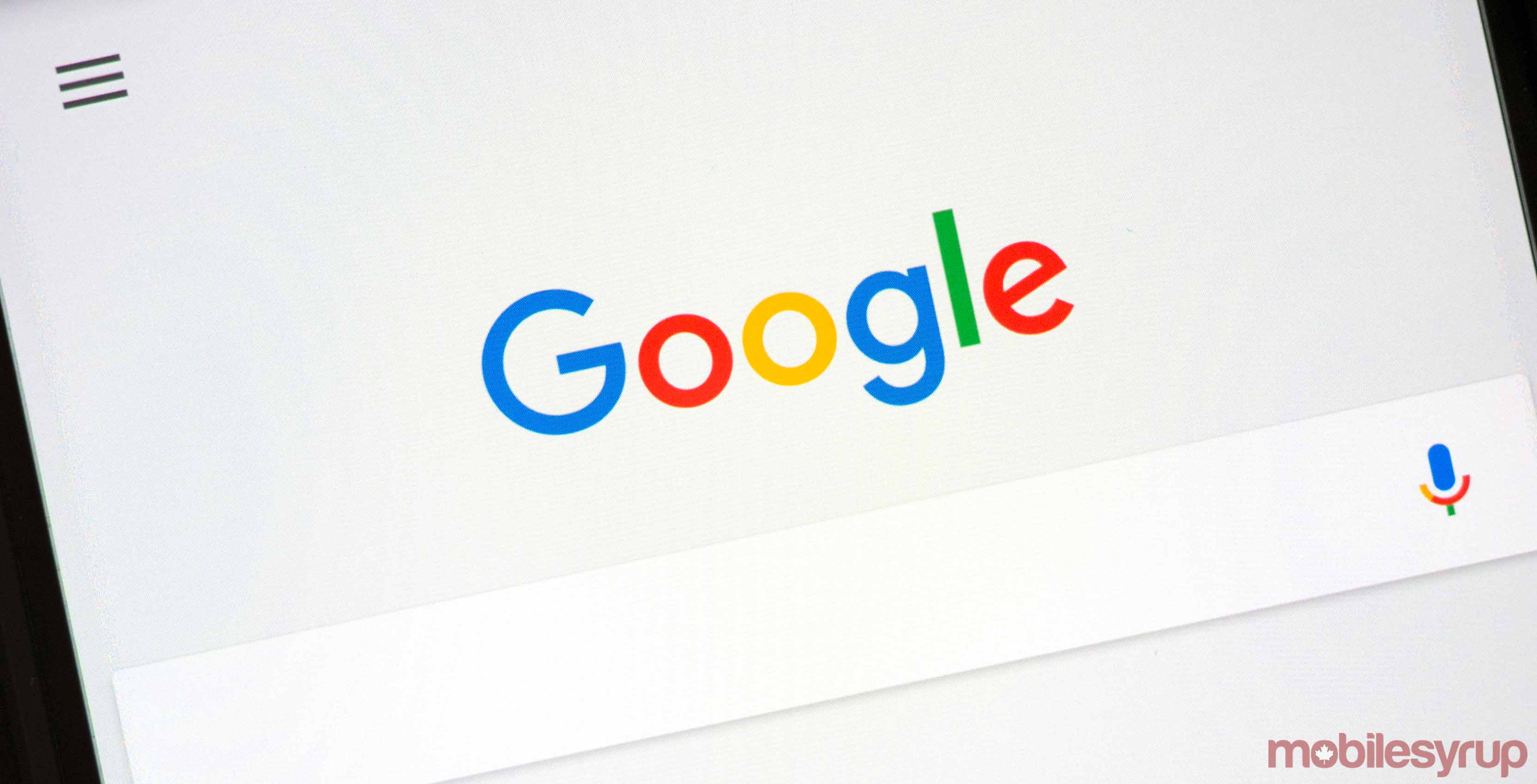 Photo of Google's search engine on a phone