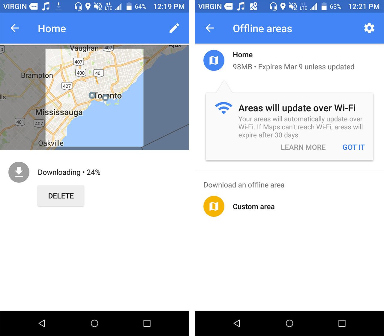 google maps offline screen shots - save data