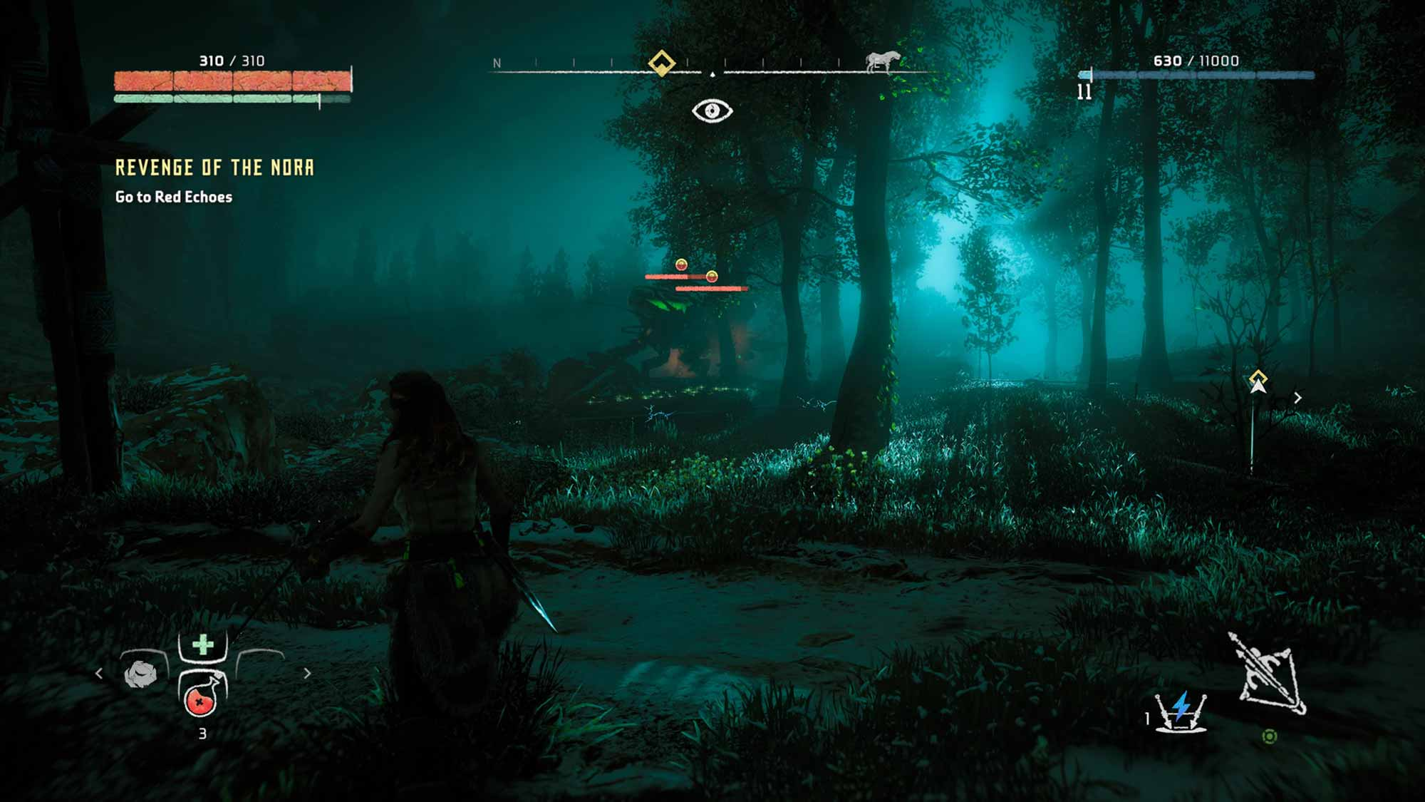 Horizon Zero Dawn nighttime screenshot