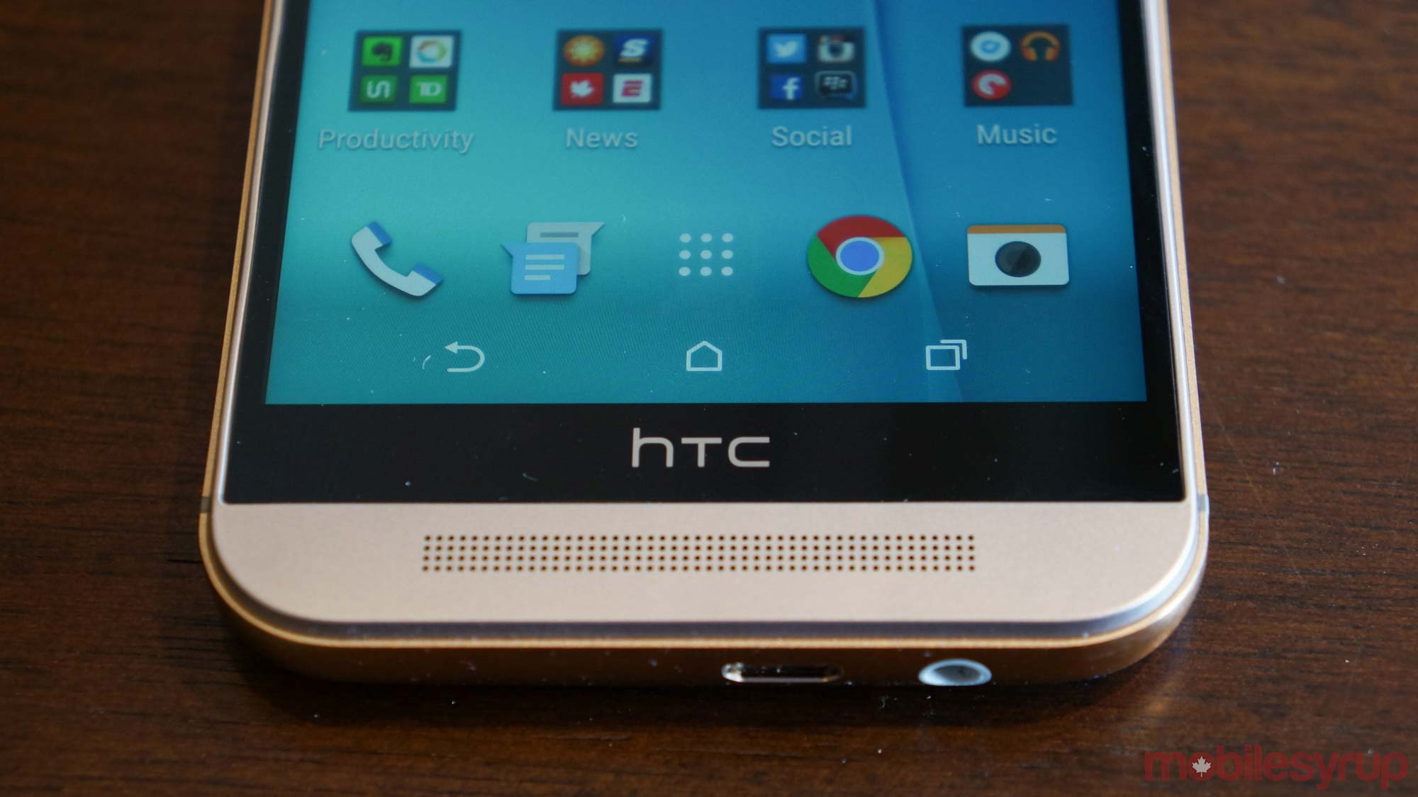 HTC One m9 front bottom of phone - htc one m9 gets android nougat