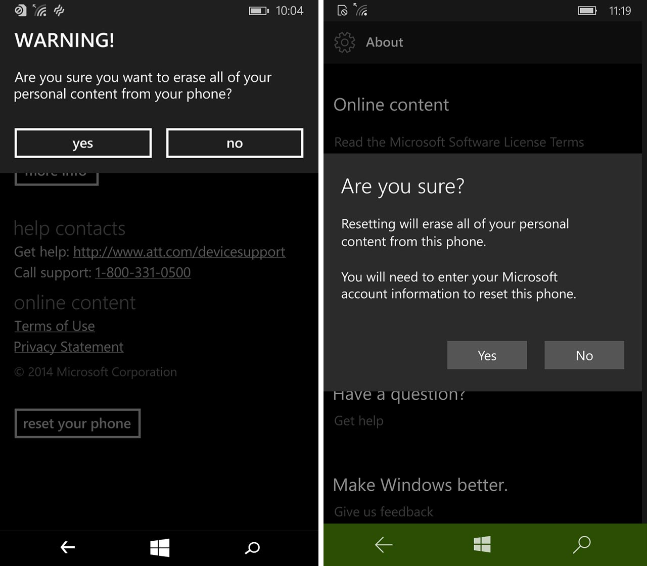 Final screenshot of resetting Windows Phone