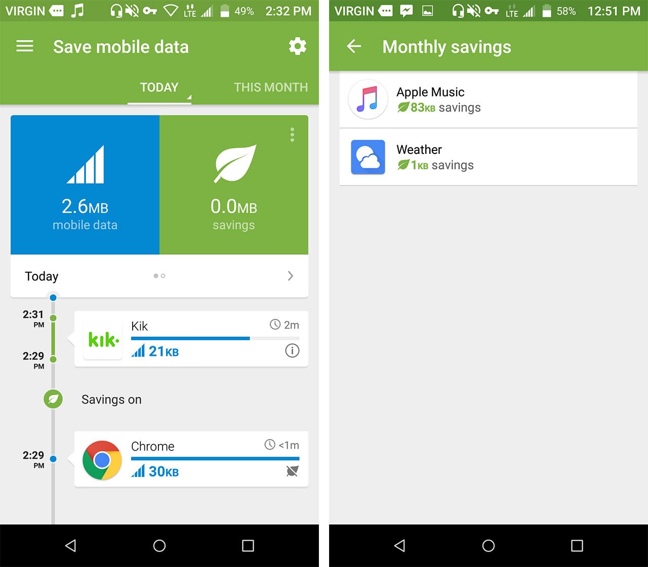 opera max screen shots - save data