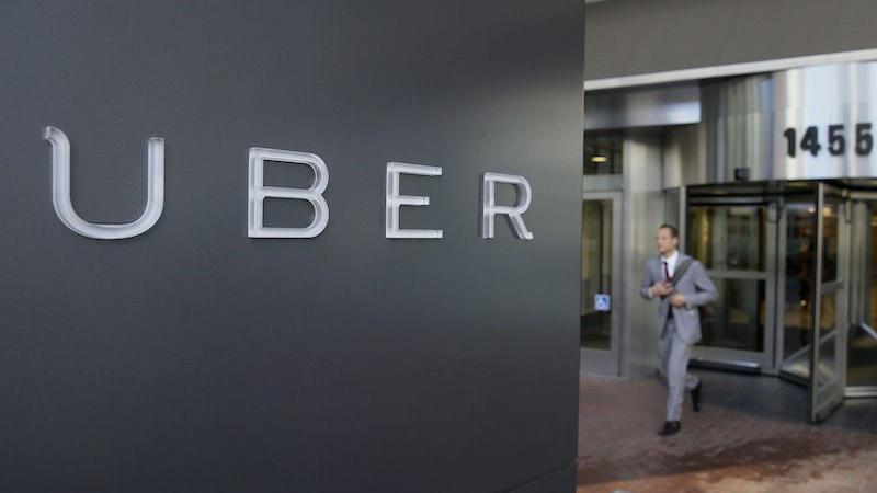 Uber logo on a sign