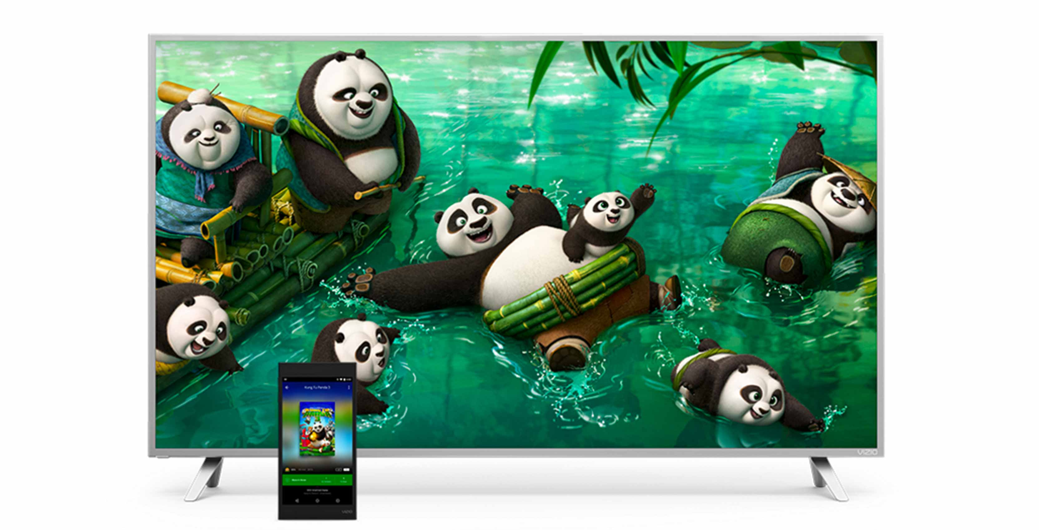 Vizio P-Series television with Kung-Fu Panda on it