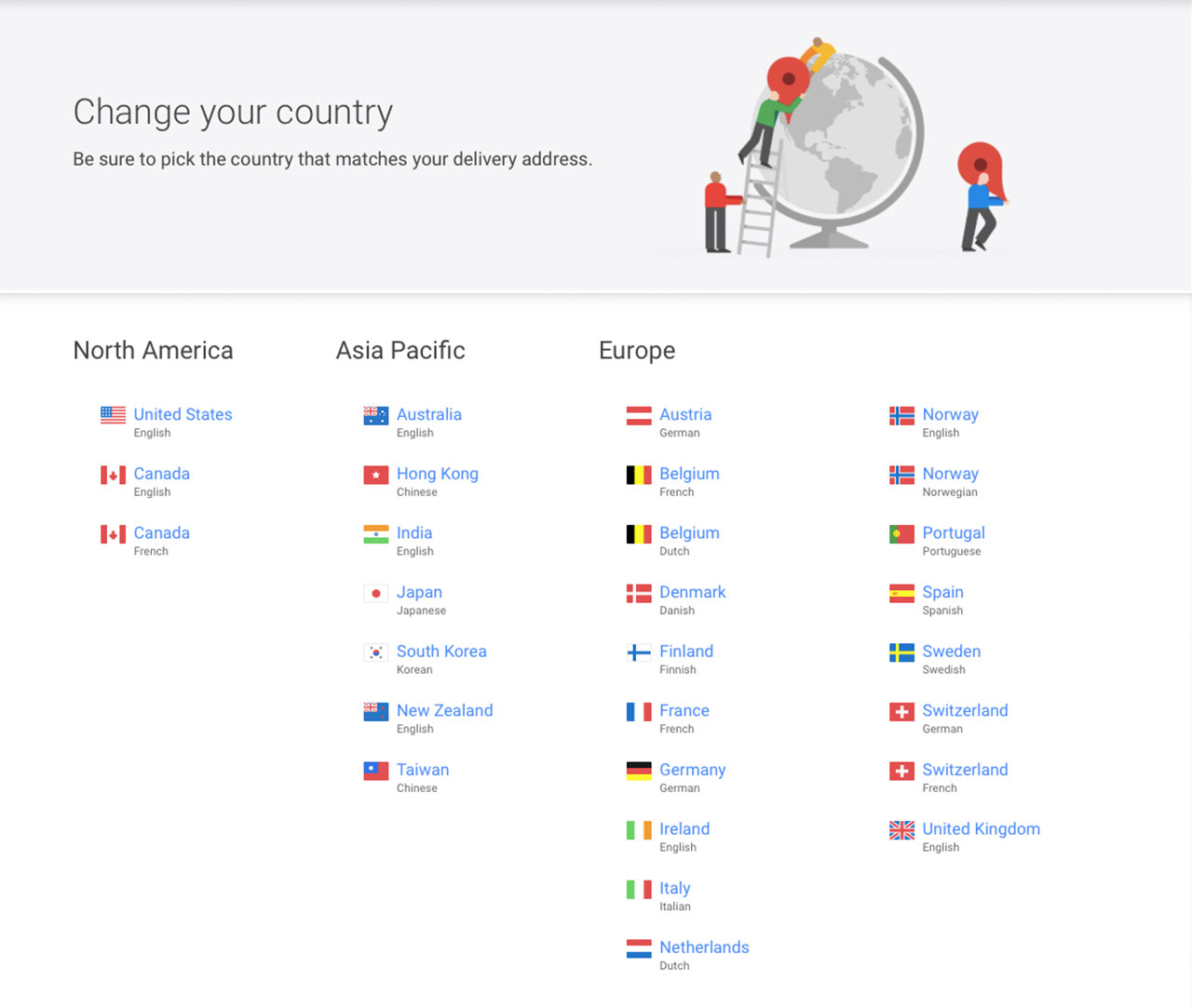 Google Store Country Selector