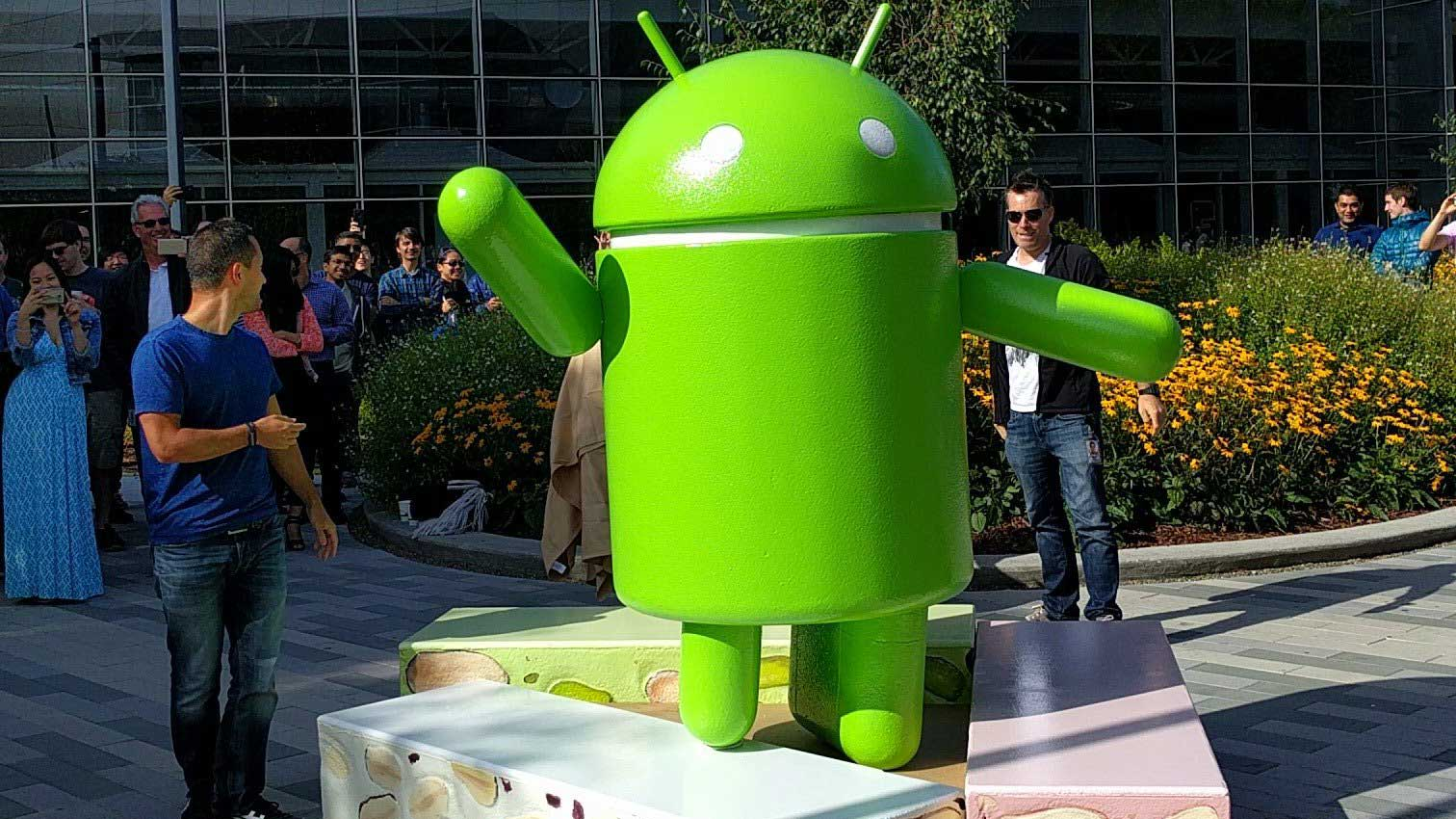 android nougat statue at google campus - nougat bell