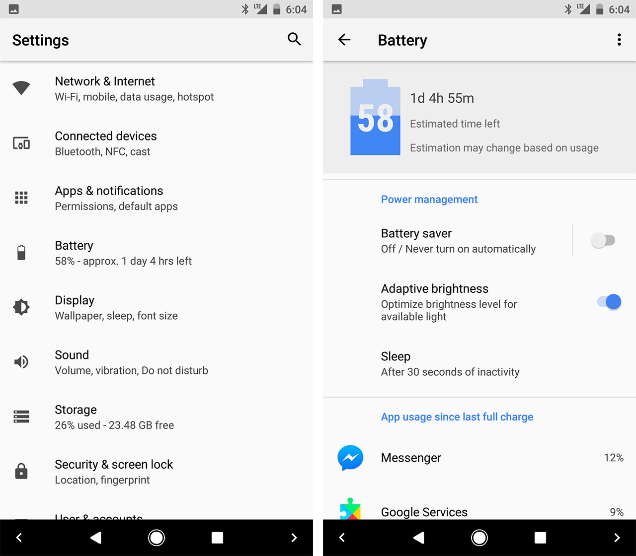 settings app - android o features