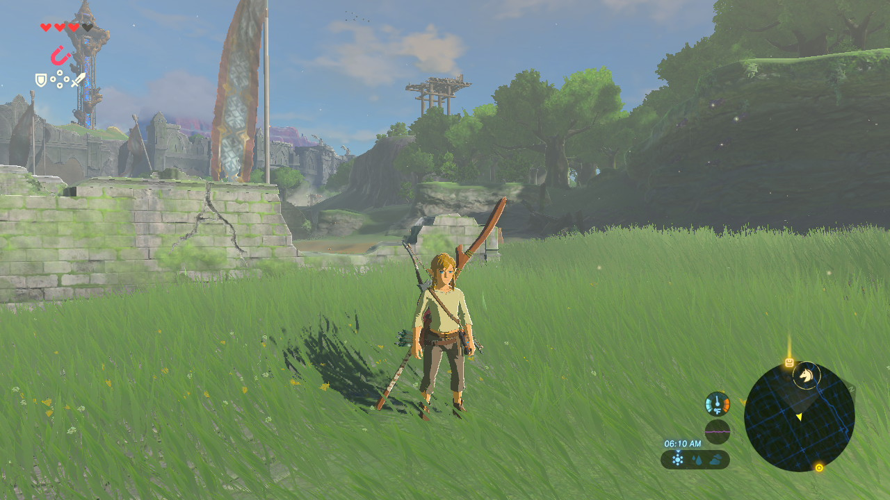 Link standing in the grass screenshot