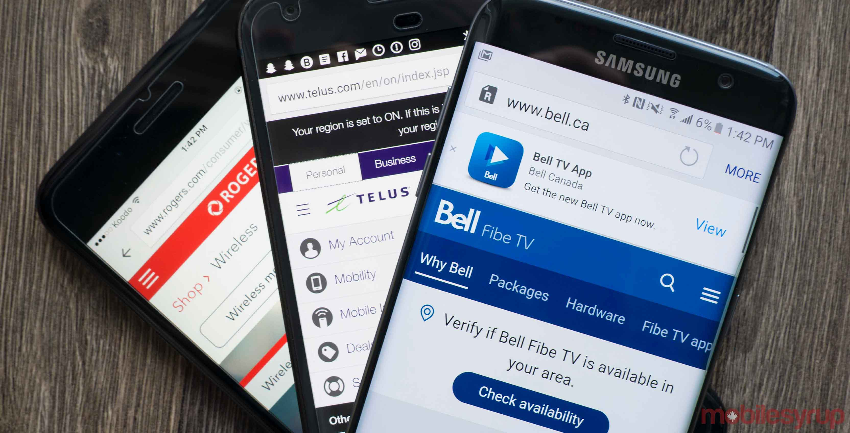 Bell, Telus and Rogers