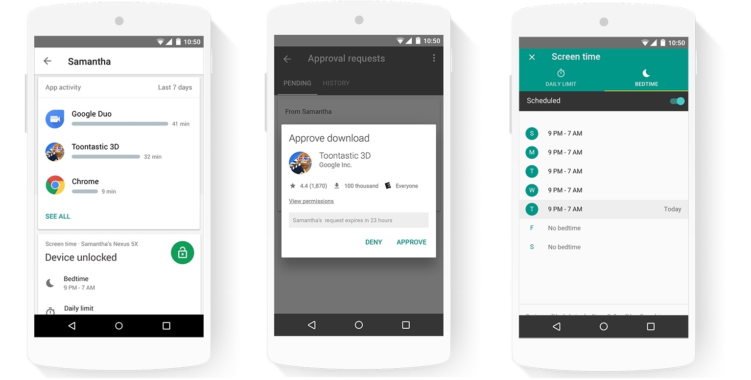 Screenshots of Google Family Link in action