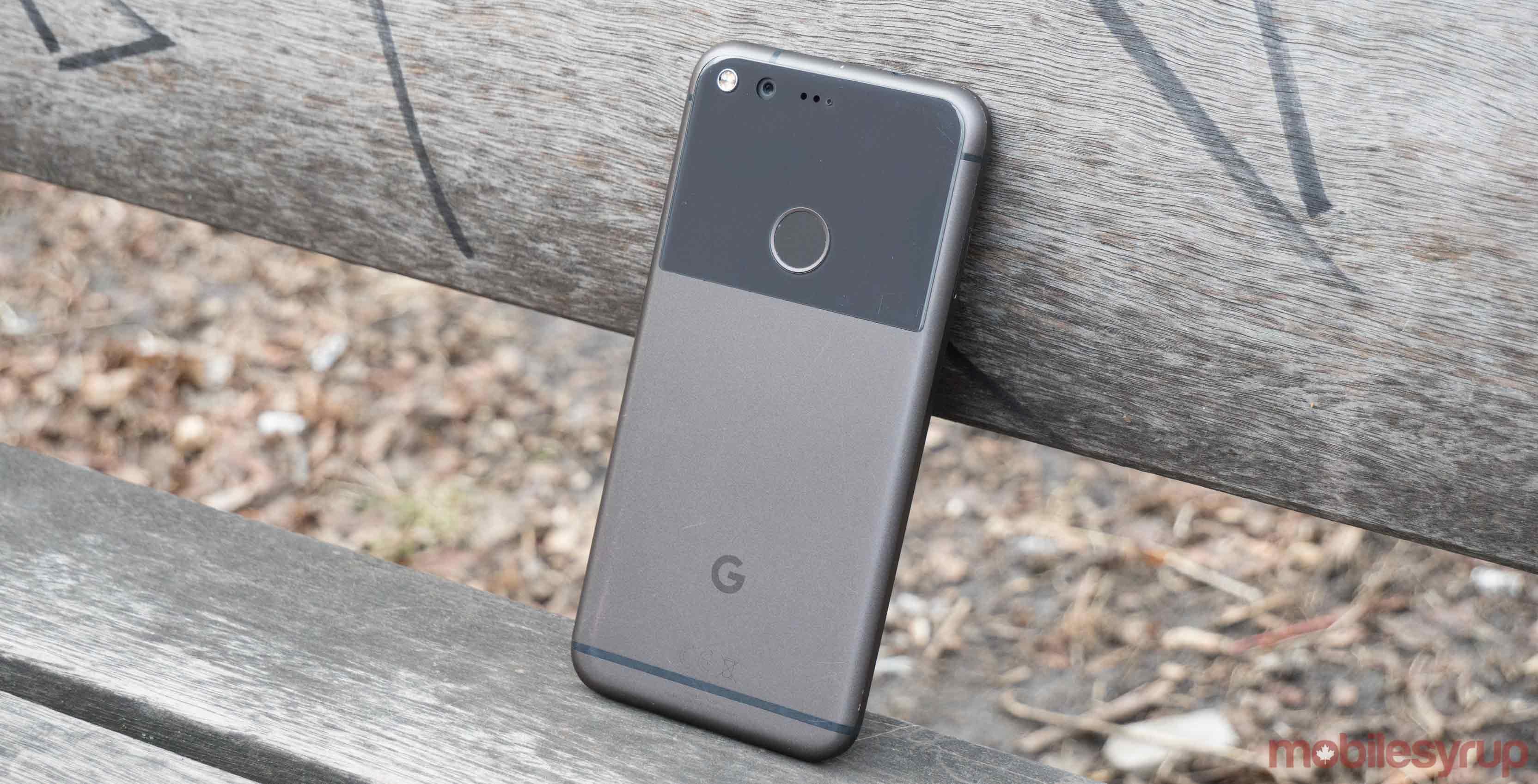 Google Pixel on bench