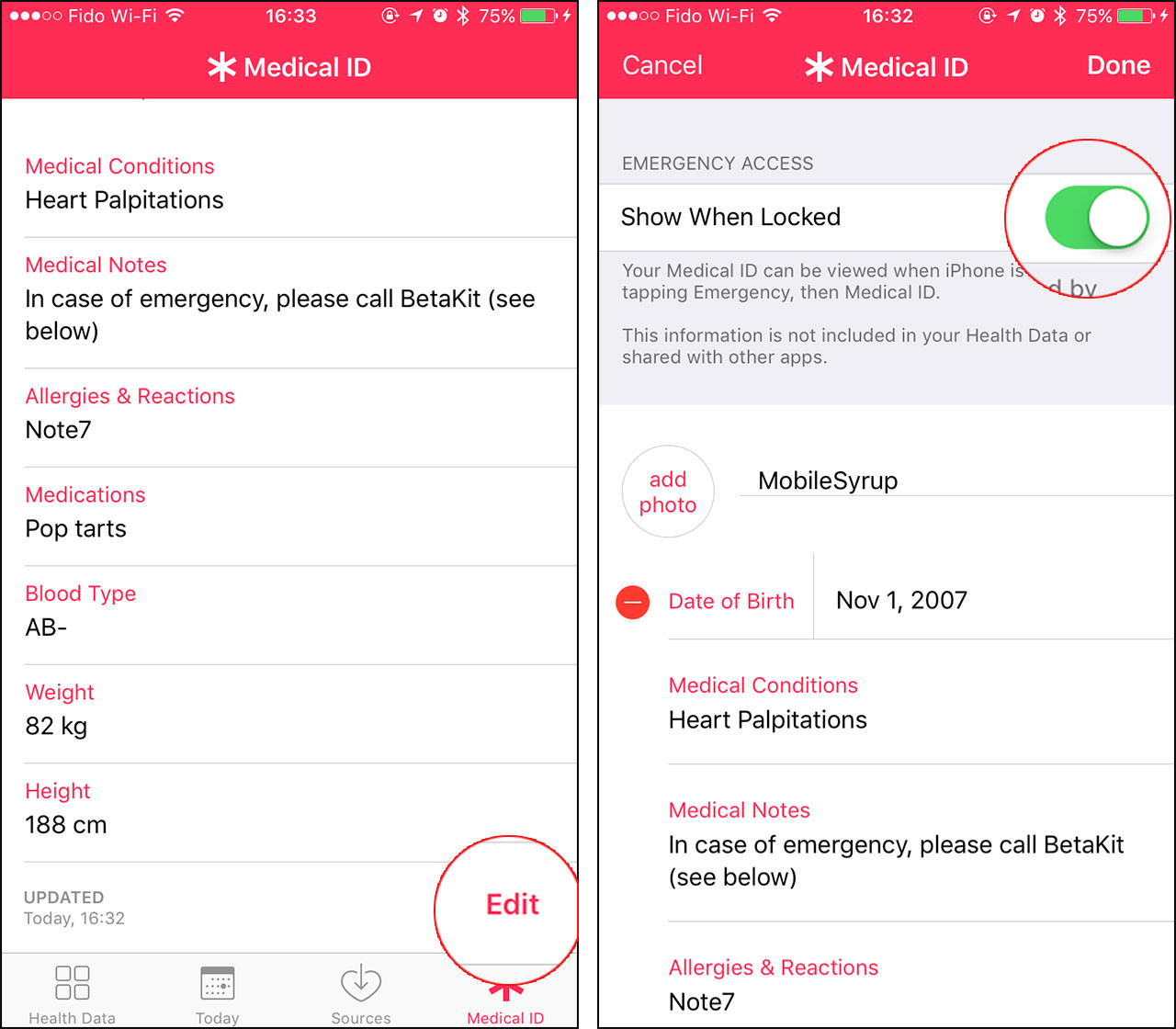 iOS Medical ID