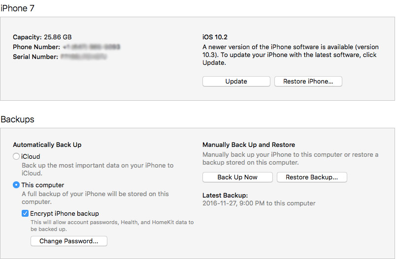 Screenshot of iCloud backup restore