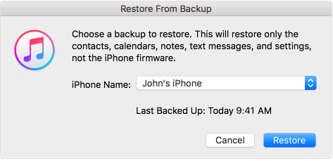 iTunes Restore Screenshots