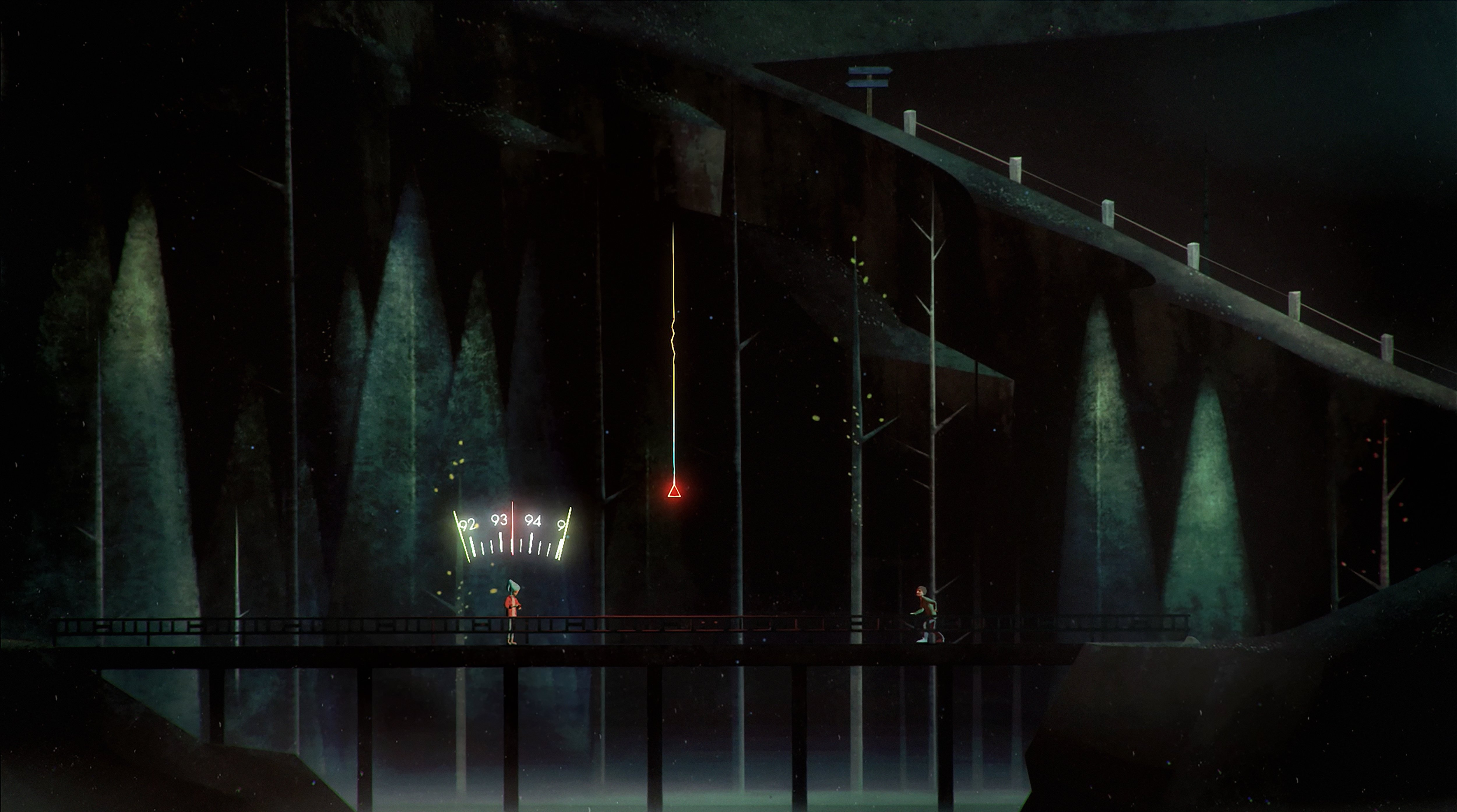 Oxenfree screenshot showing Alex using the game's radio