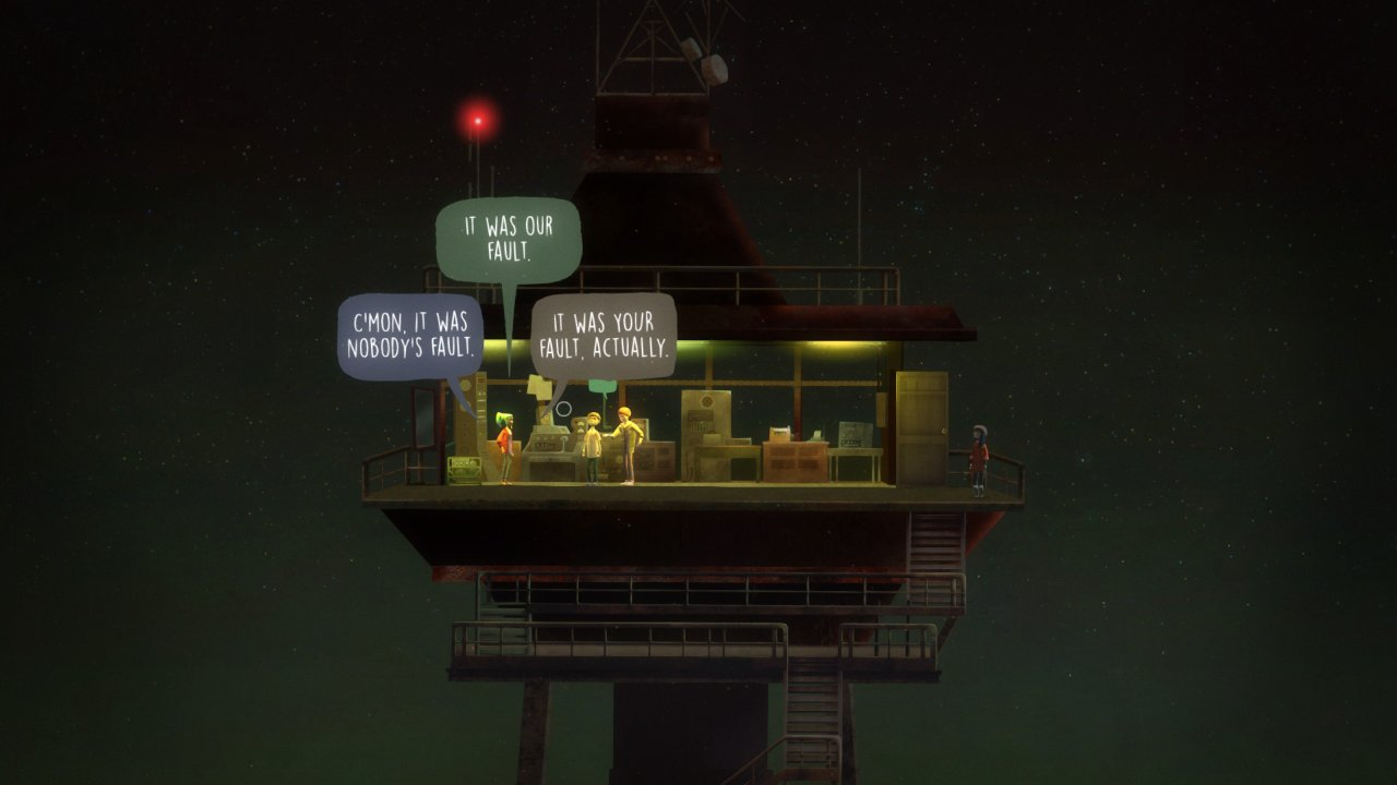 Oxenfree screenshot showing the game's dialogue system