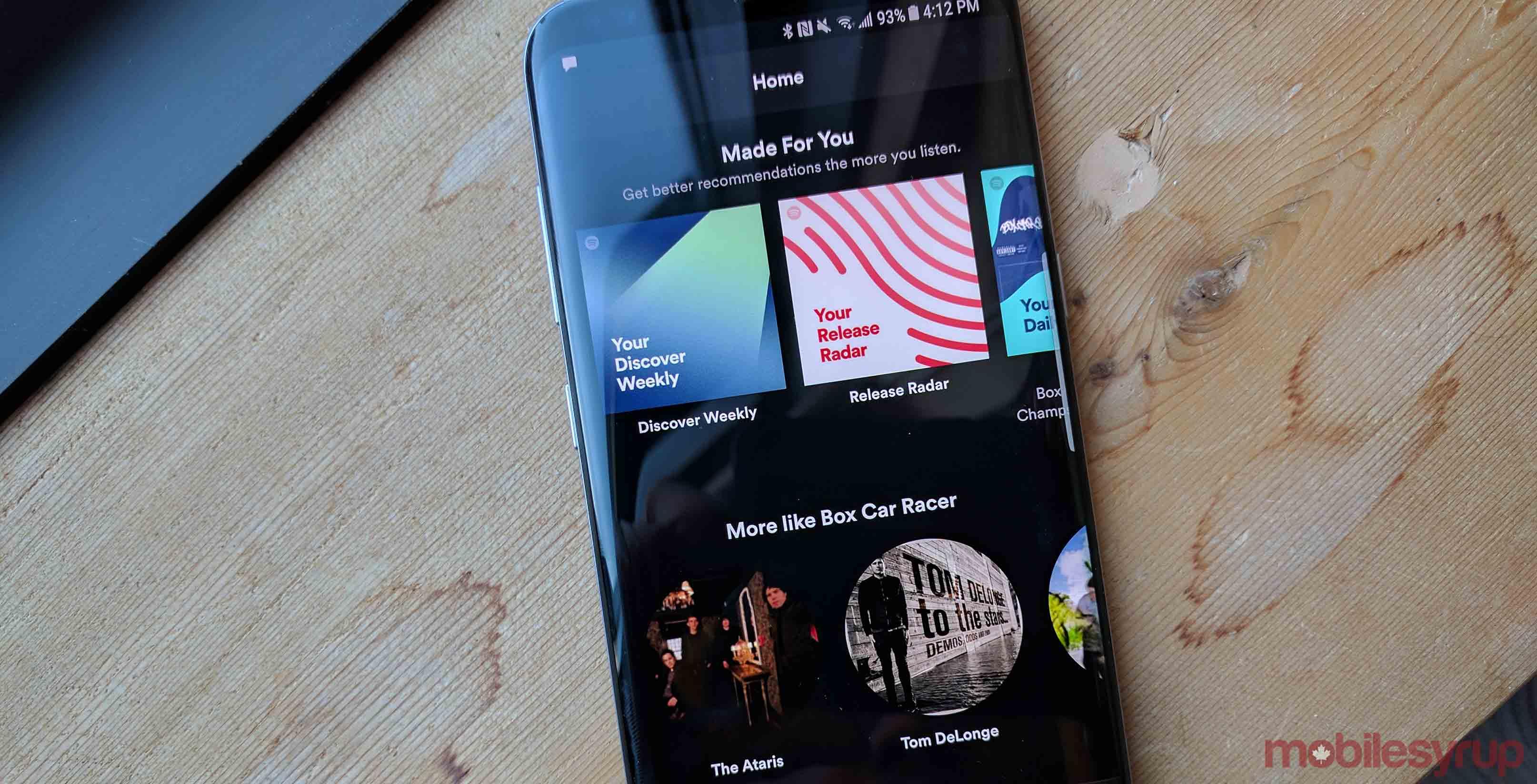Spotify app on S8