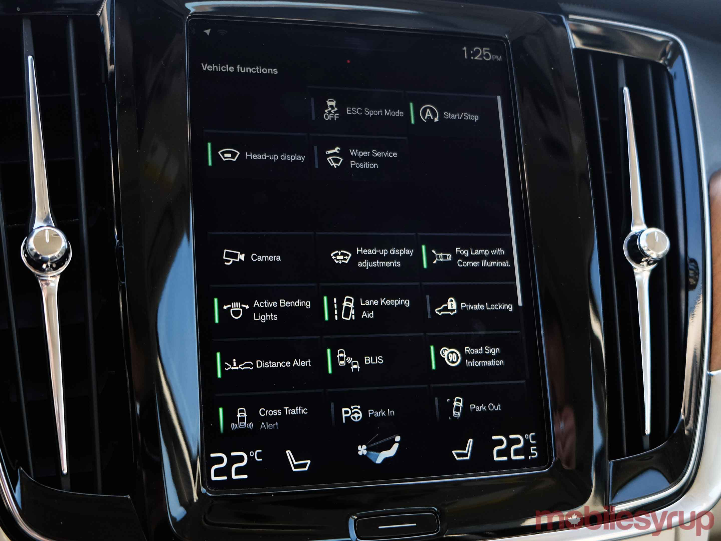 Volve S90 vehicle functions