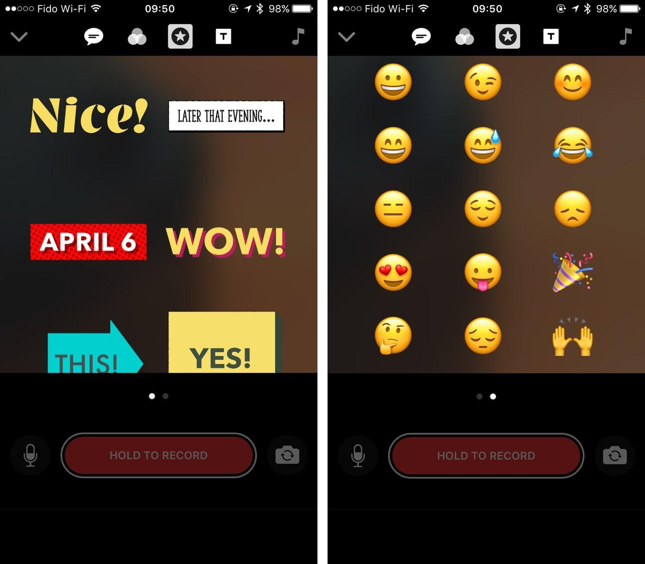 Emoji screenshots clips