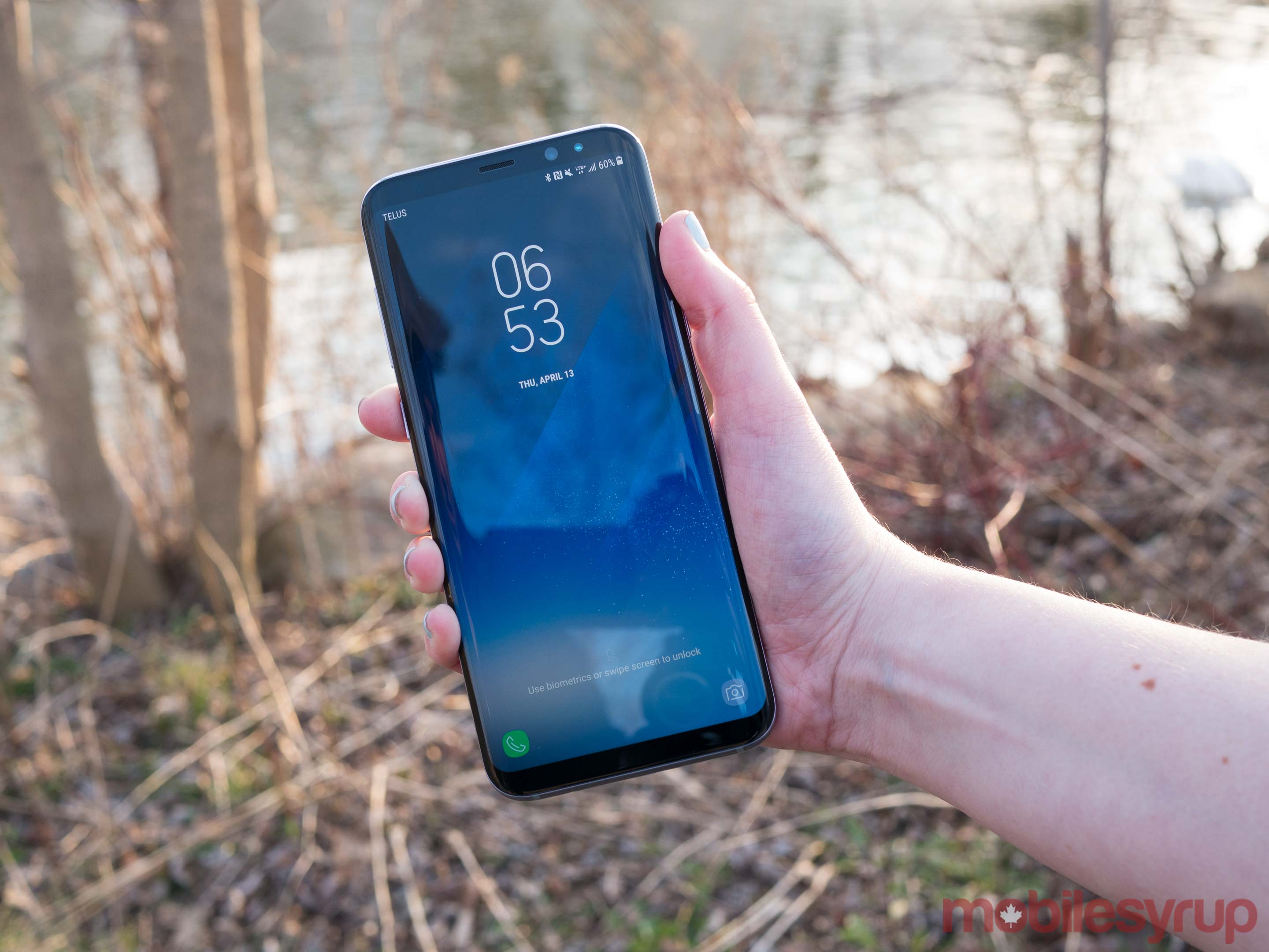 Galaxy S8+ facing the front in hand