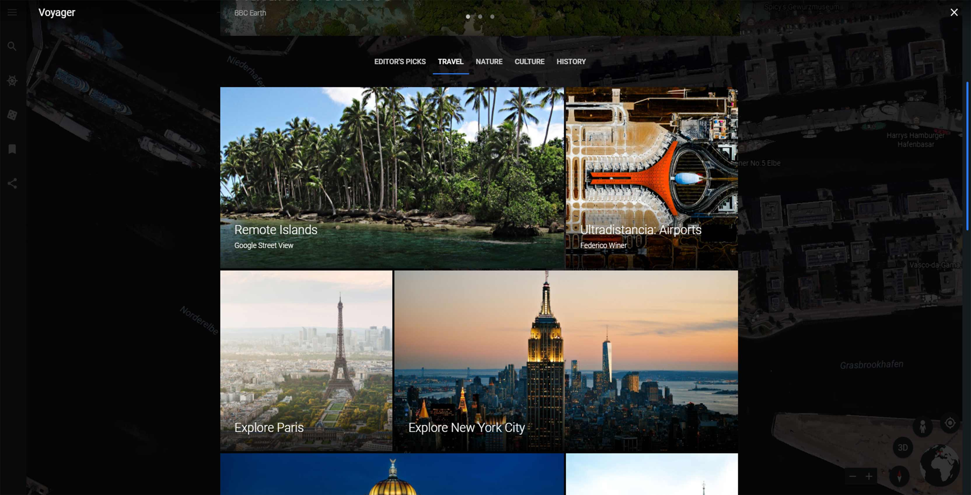 Google Earth Voyages tab