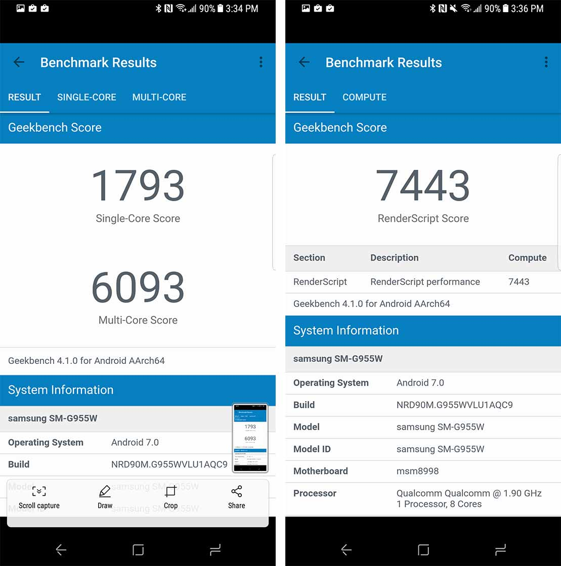 Galaxy S8 benchmark screenshot