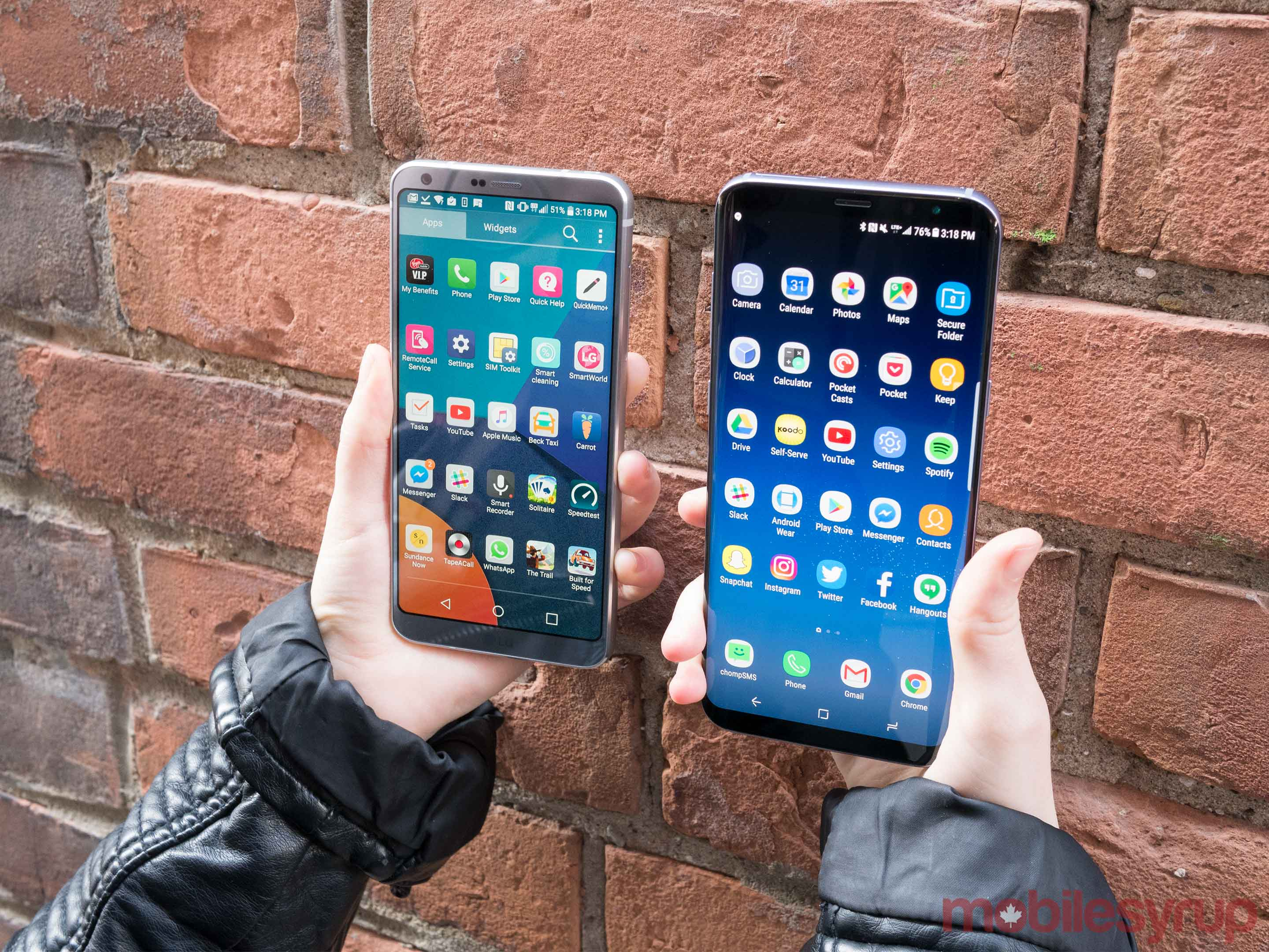 Galaxy S8 and LG G6 against a brick wall