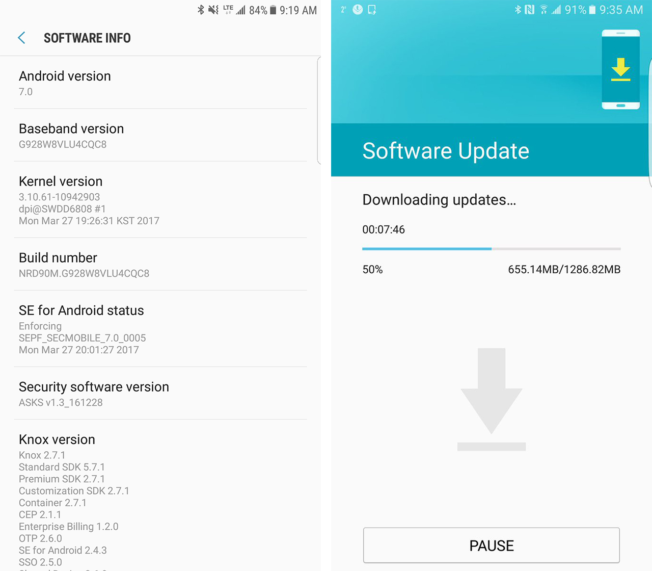 Galaxy S6 edge+ downloading Android Nougat