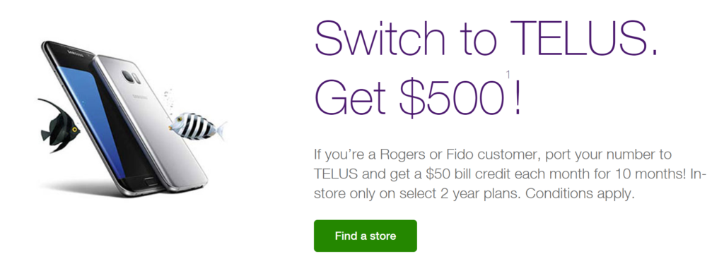 telus bill credit deal