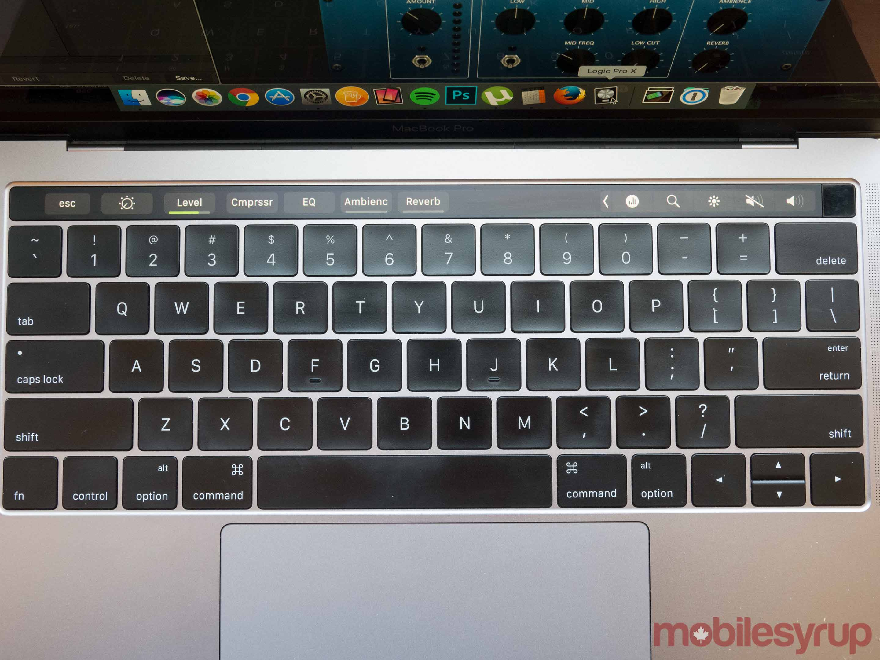 MacBook Pro keyboard with touch bar