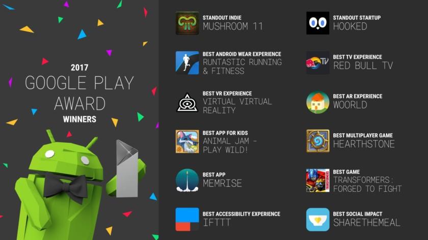 Google's 2017 Google Play Award Winners