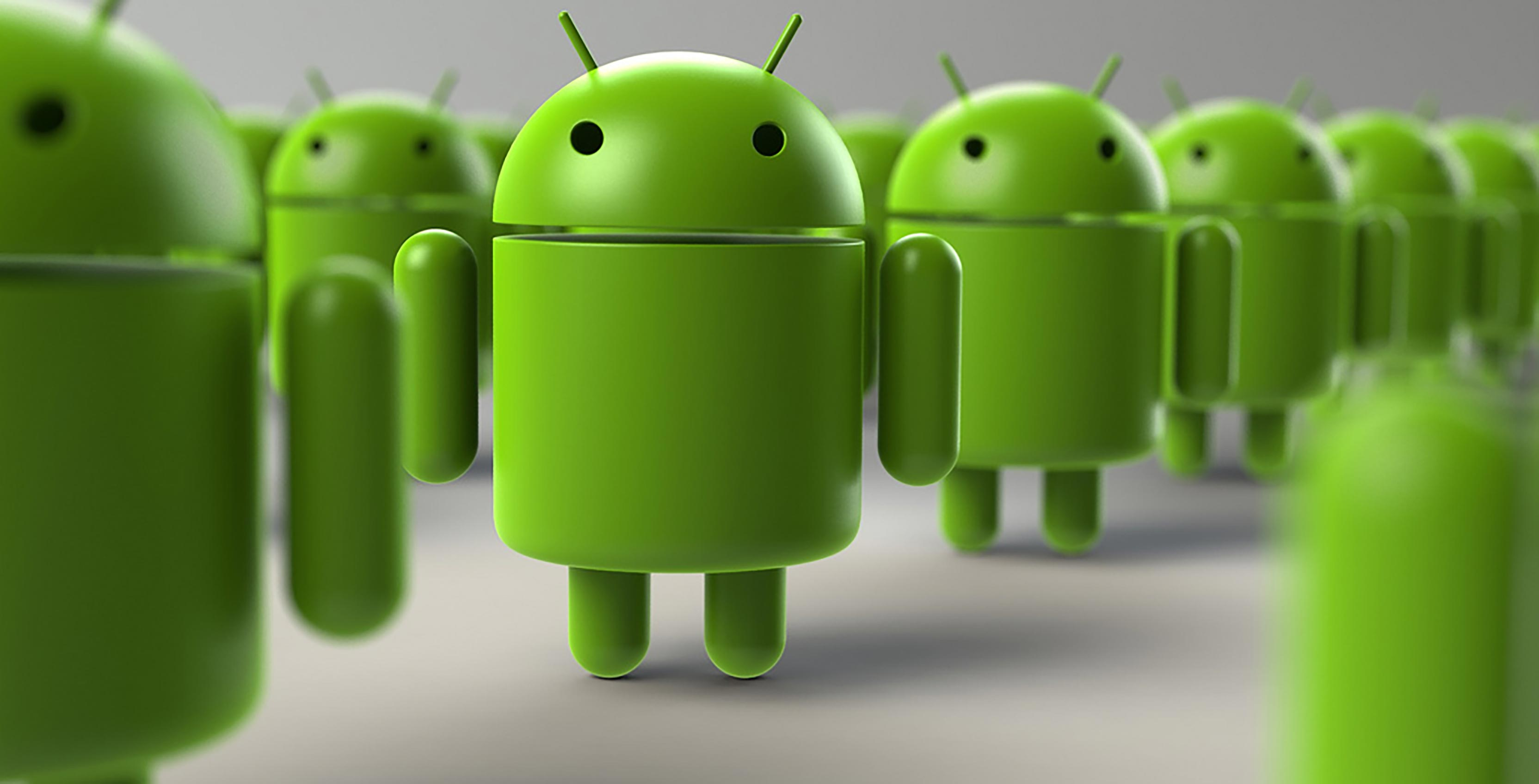 Lineup of Android robots