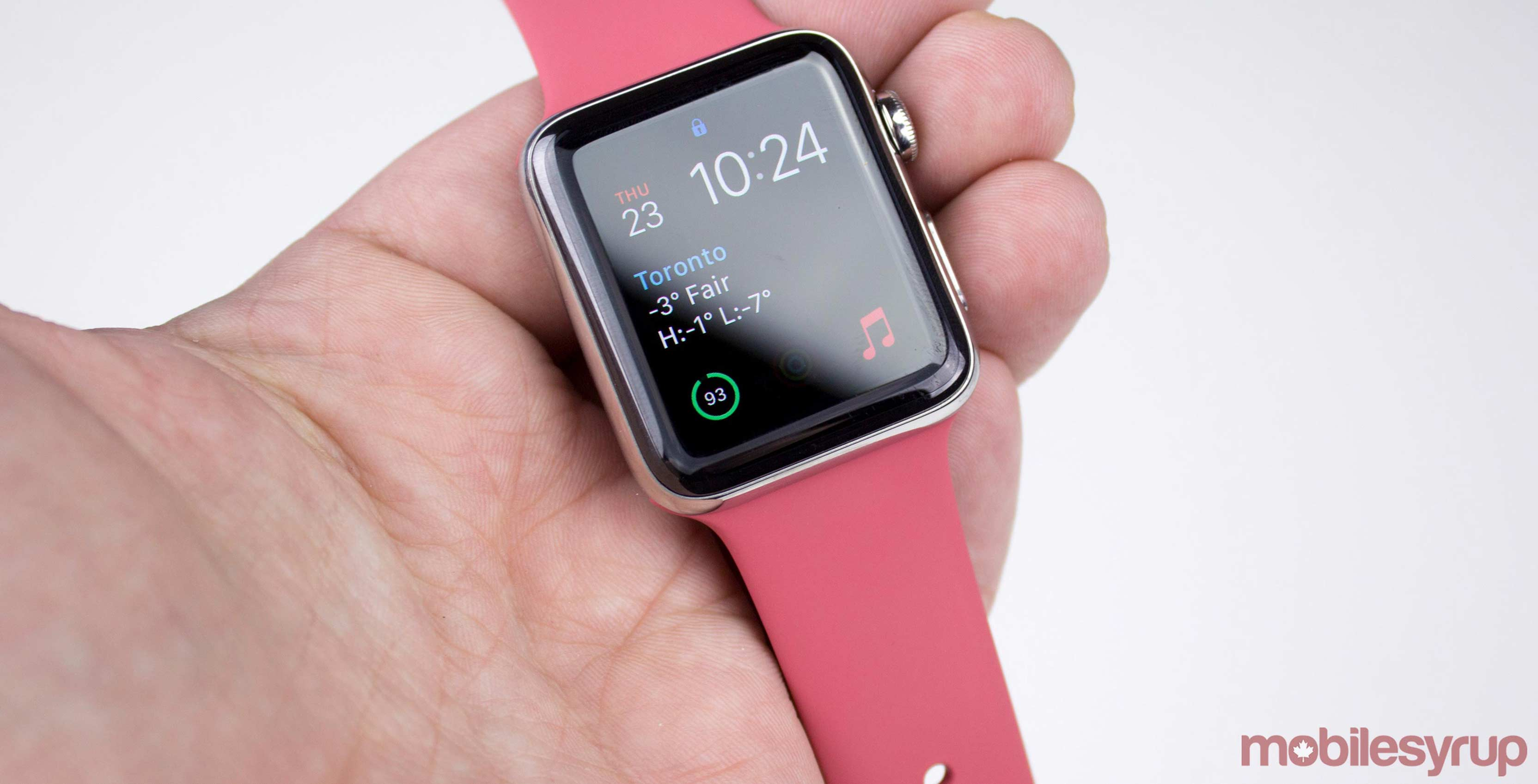 Pink Apple Watch in hand