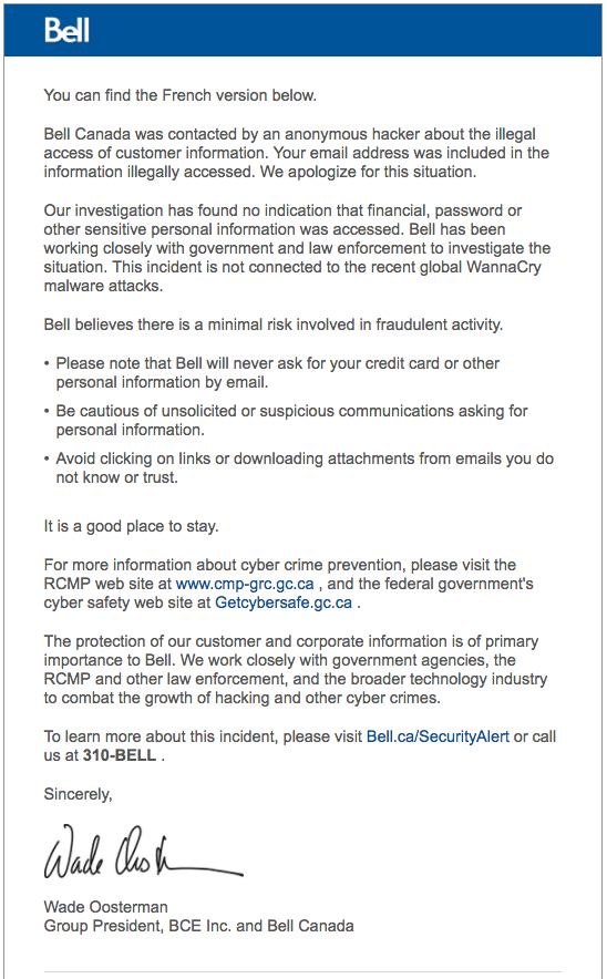 Bell hacking statement