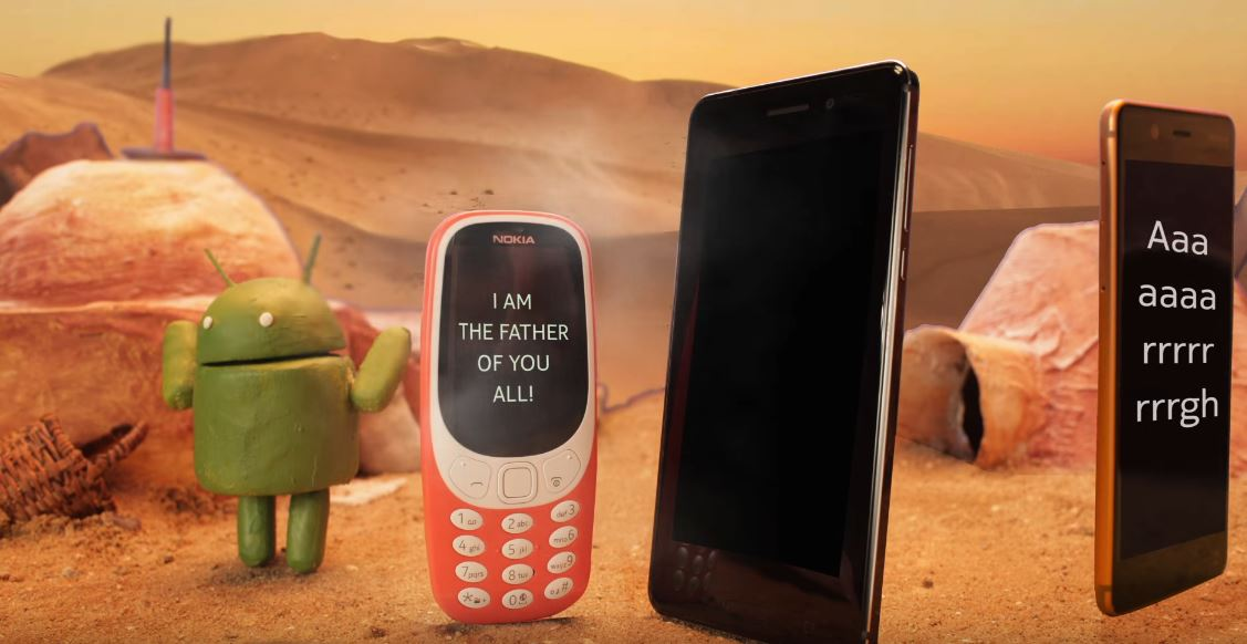 Nokia 3310 announcing that it's the father of all phones