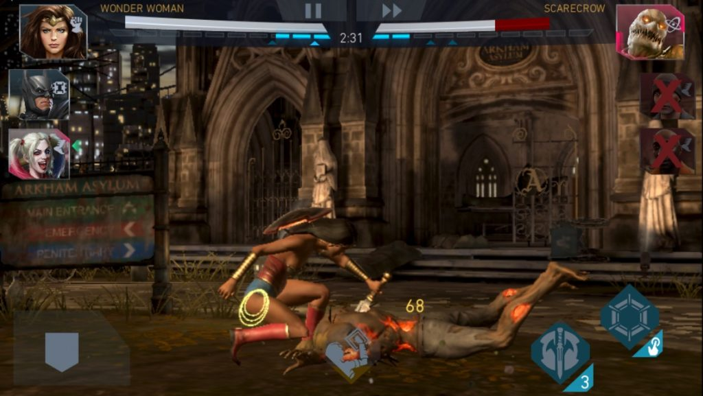 Injustice 2 Mobile Wonder Woman vs Scarecrow