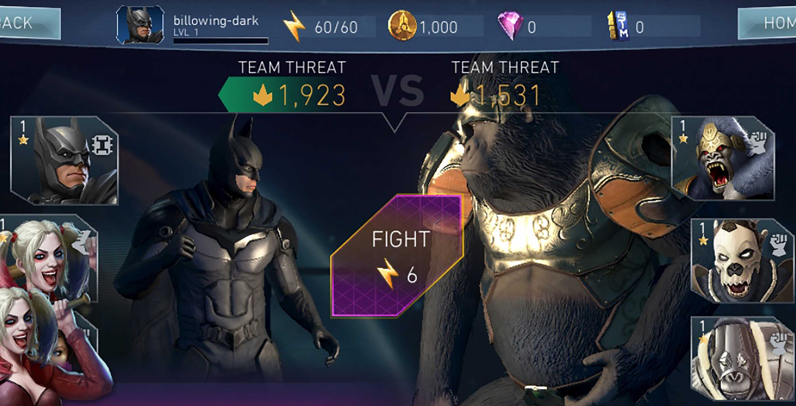 Injustice 2 Mobile Batman vs. Gorilla Grodd