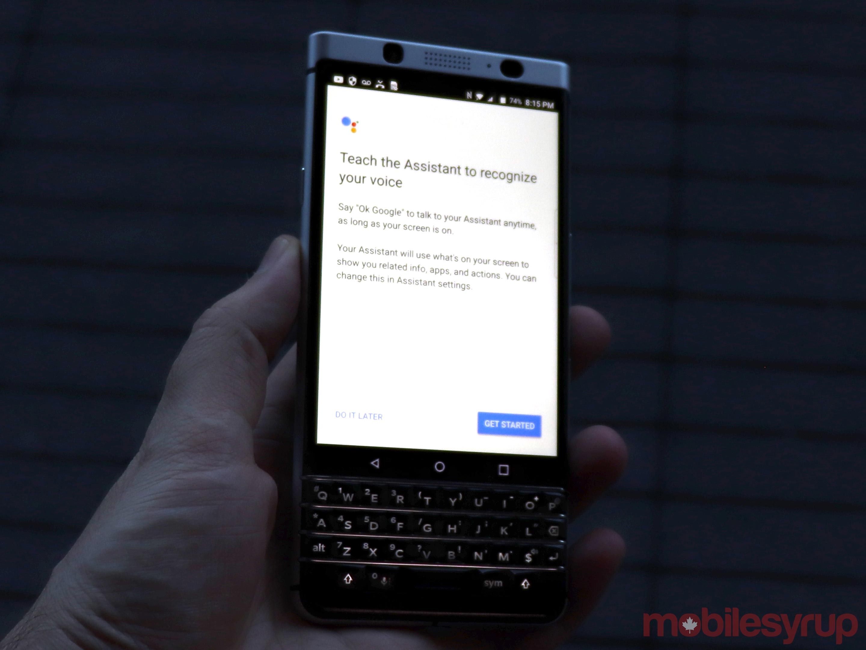 Blackberry keyone google assistant