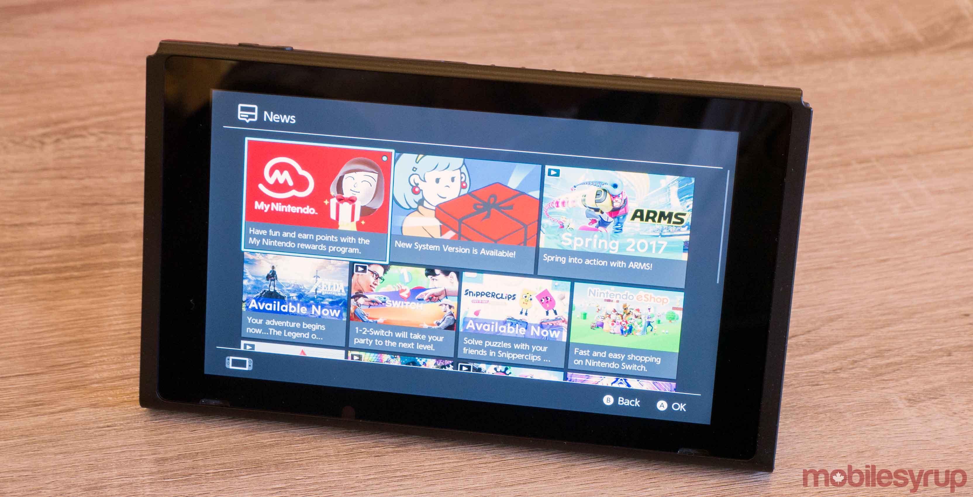 Nintendo Switch menu