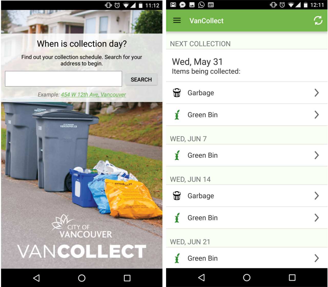 An image showcasing the VanCollect homescreen on Android