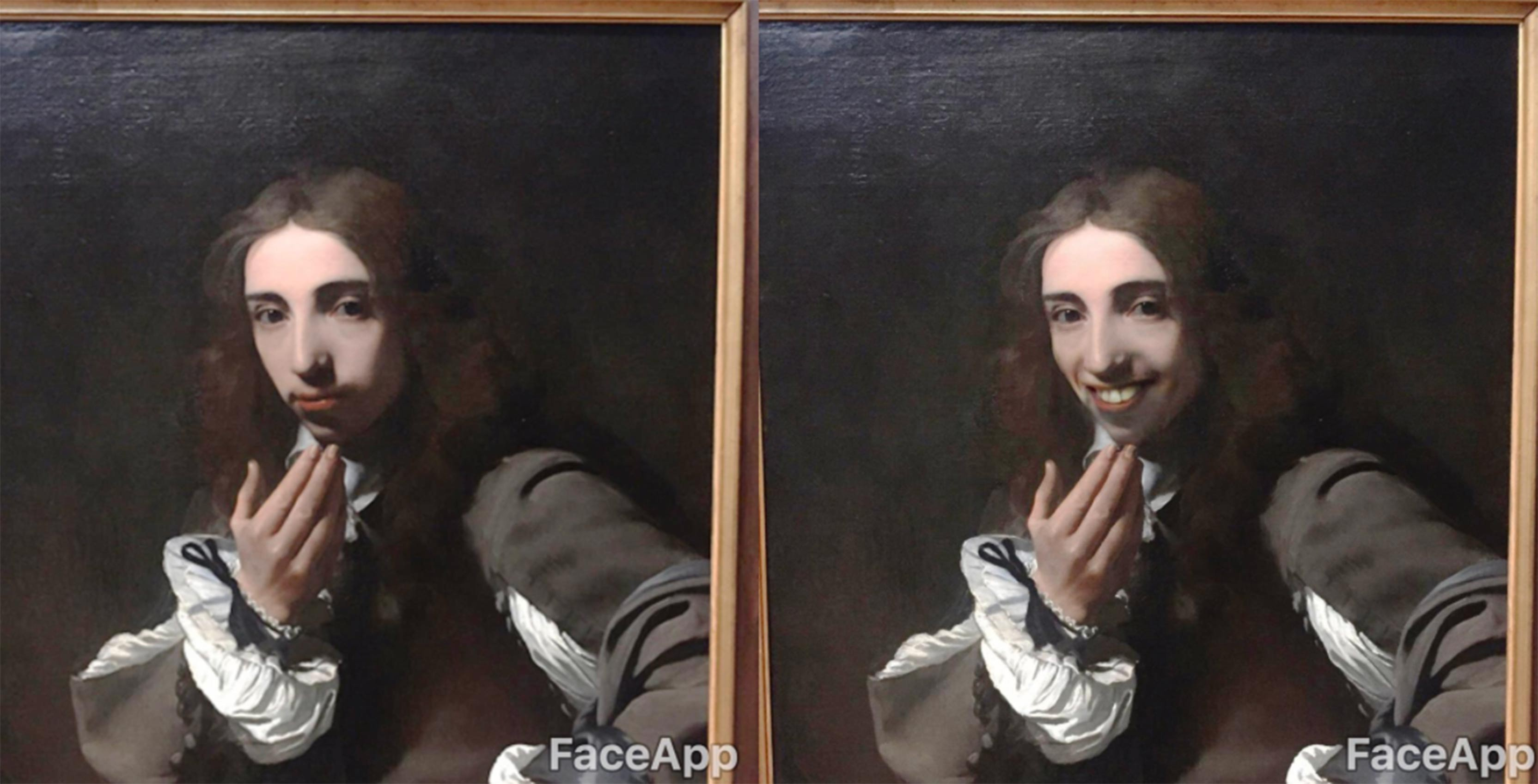 FaceApp transformation of Rembrandt painting