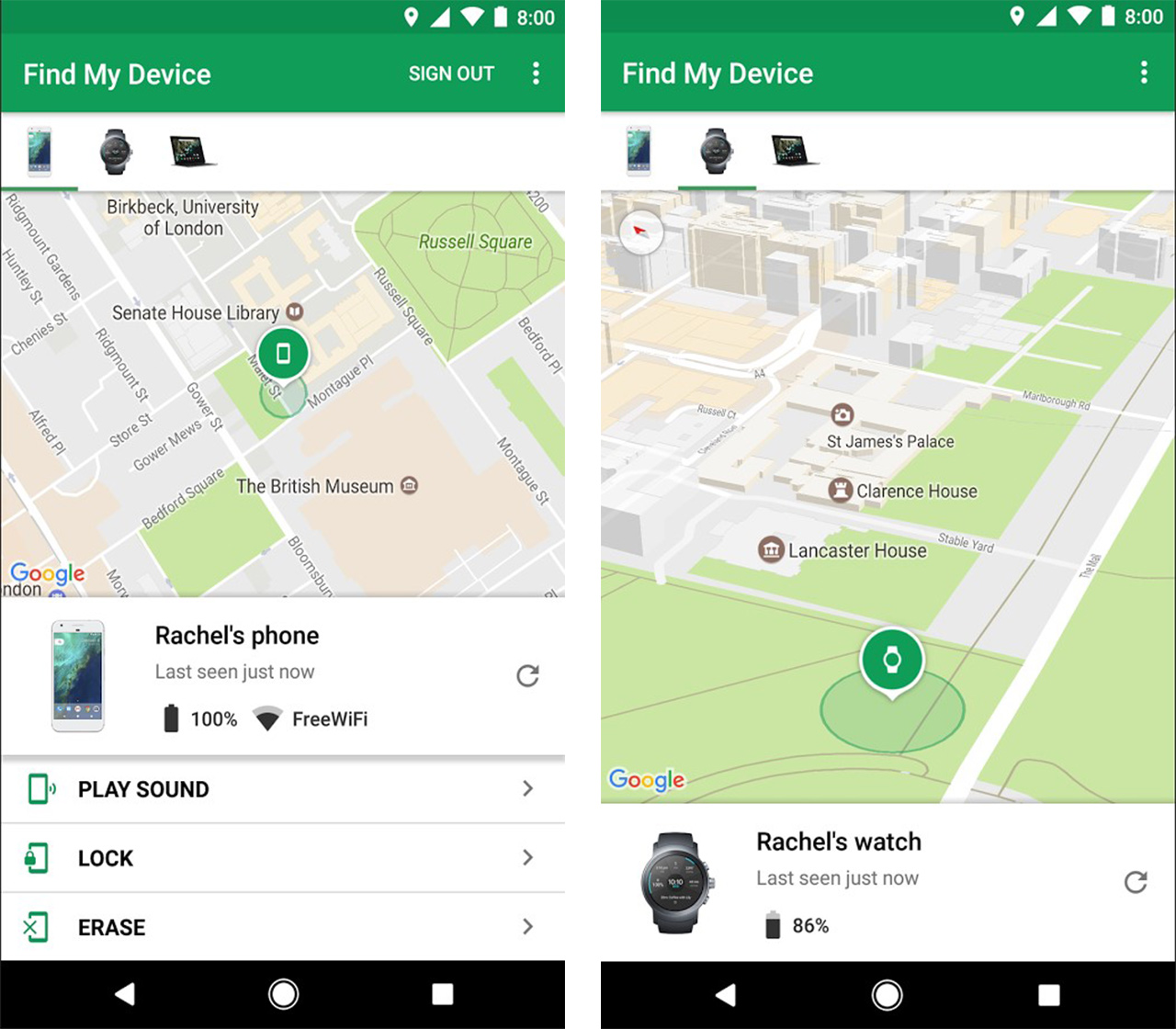 Screenshots of Google's redesigned Find My Device app
