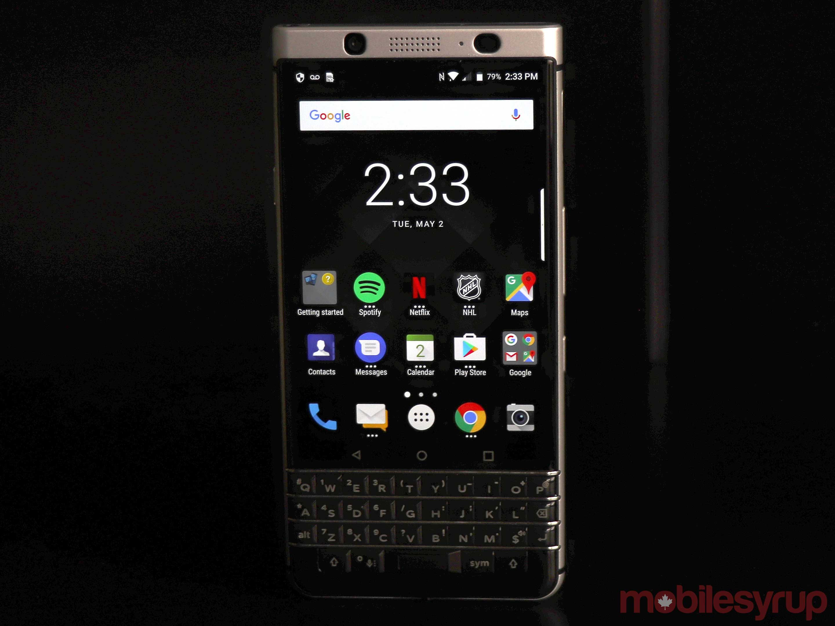 Blackberry keyone main screen