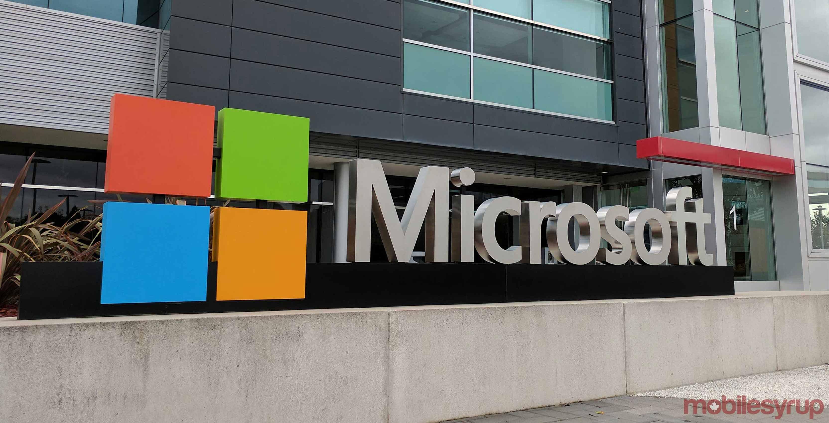 Microsoft logo outside