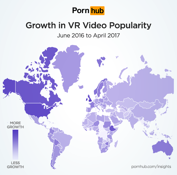 Pornhub VR video popularity