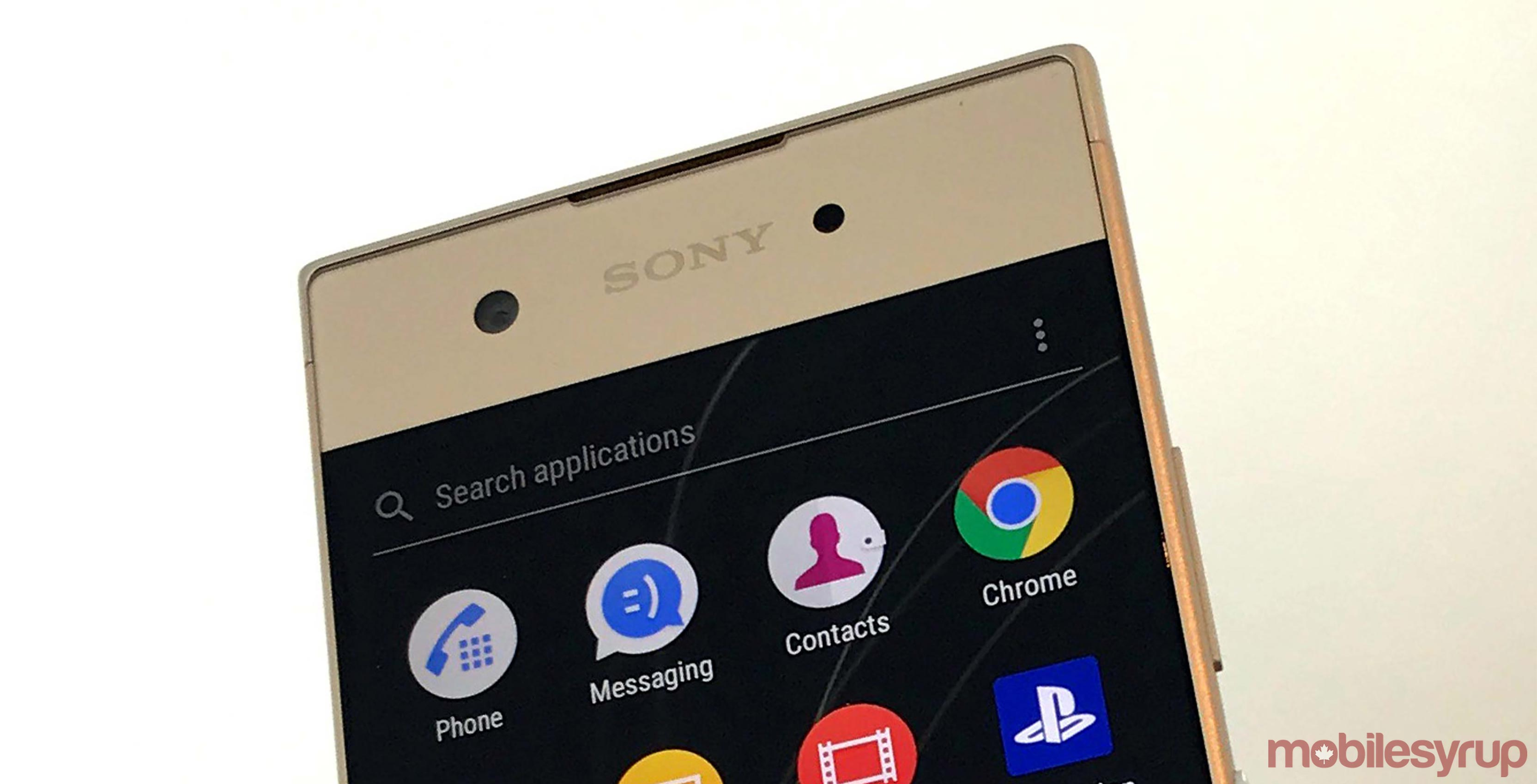Front of Sony Xperia XA1 smartphone