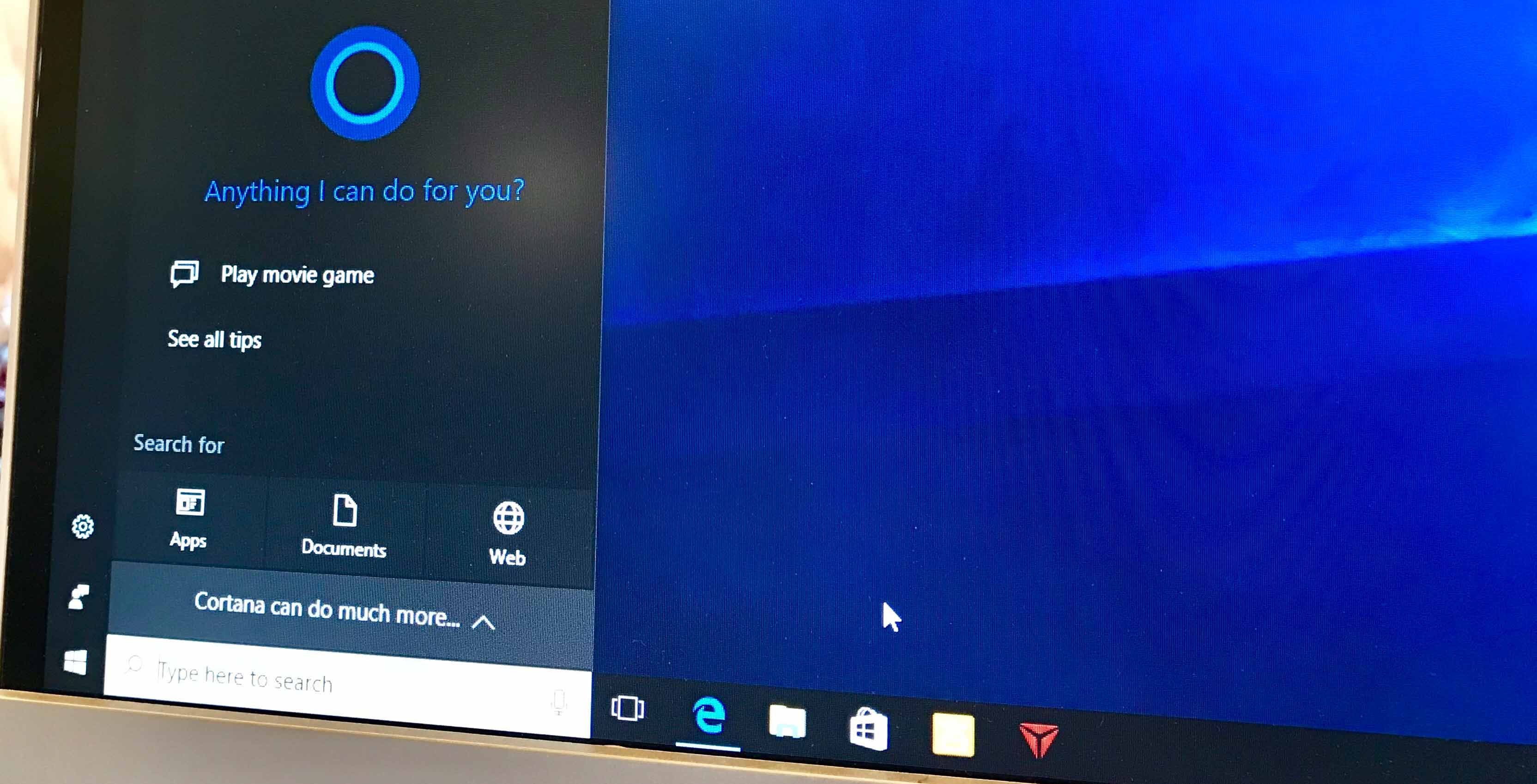 A photo showing the use of the Cortana personal assistant
