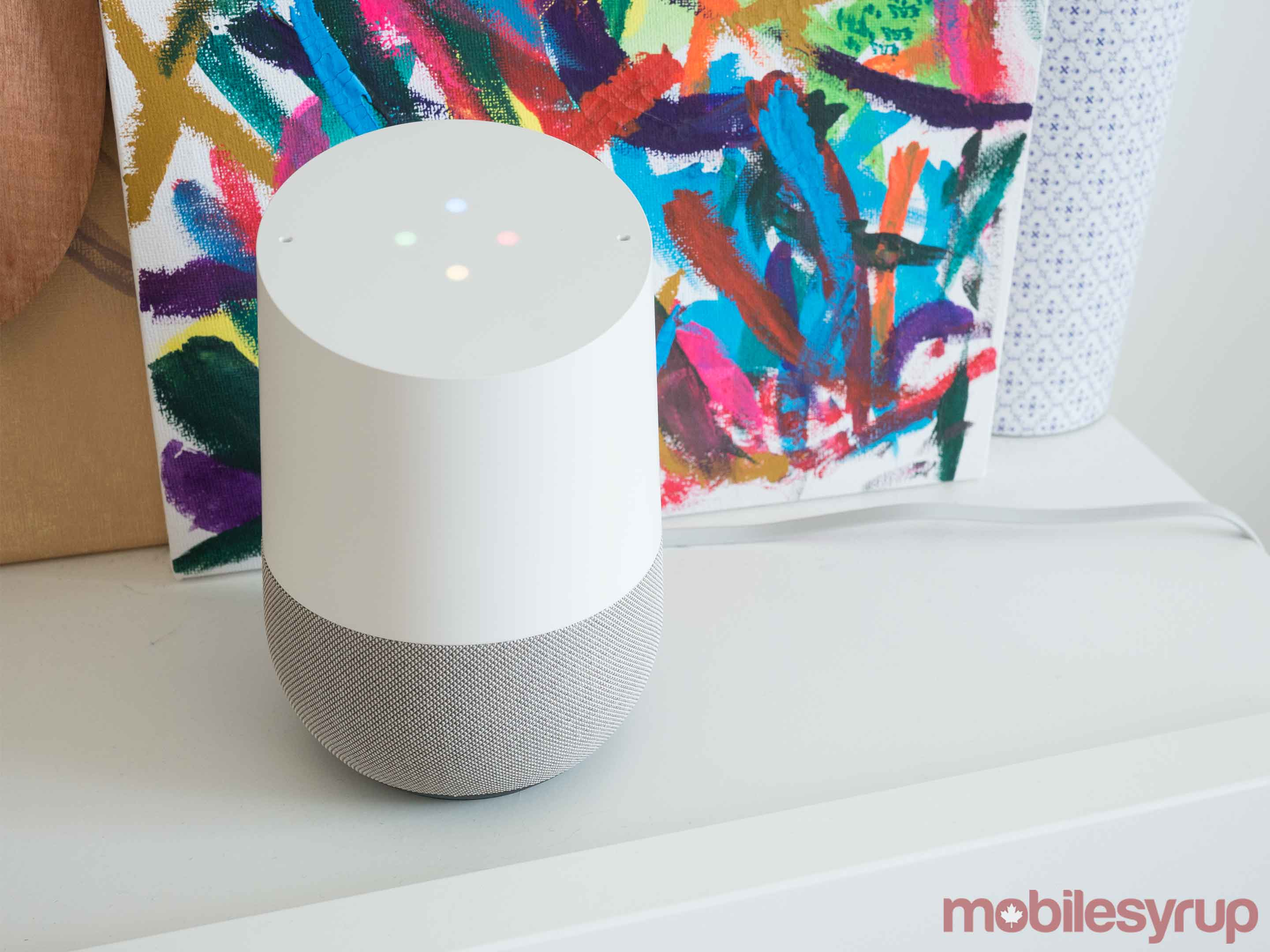 Google Home behind painting