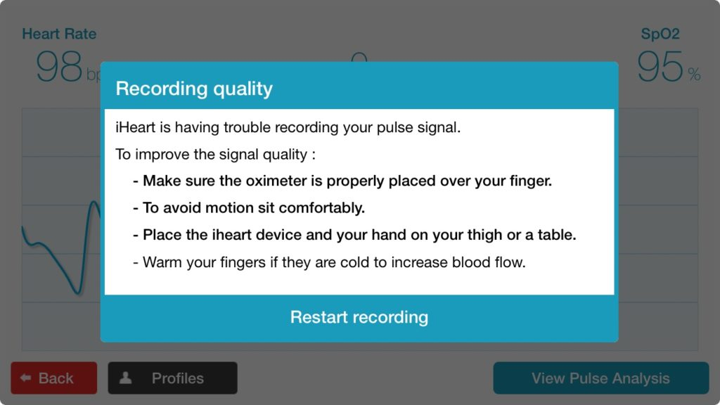 An image showing the iHeart app instructions to properly wear the device